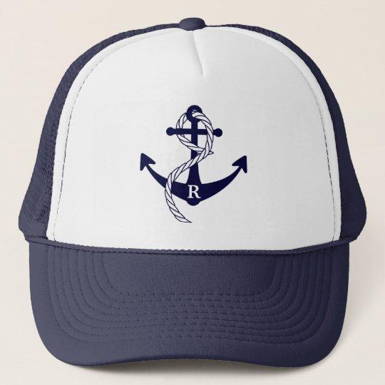 Nautical Anchor Personalised Initial Monogram Trucker Hat