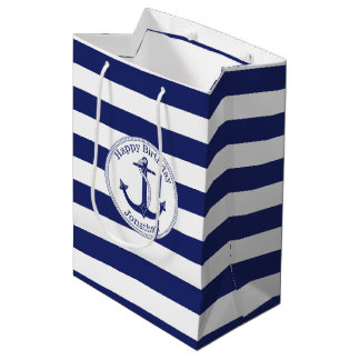 Nautical Anchor Personalized Birthday Medium Gift Bag