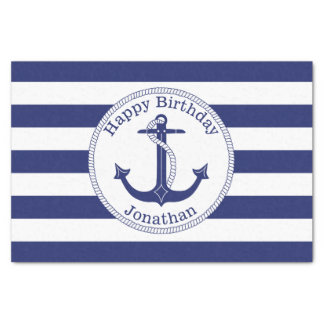Nautical Anchor Personalized Birthday Tissue Paper
