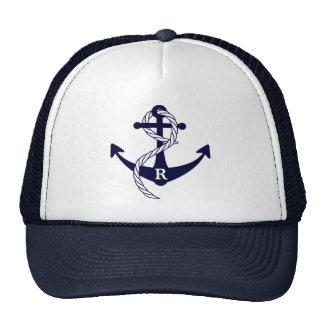 Nautical Anchor Personalized Initial Monogram Cap