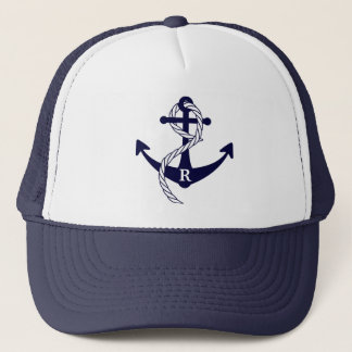 Nautical Anchor Personalized Initial Monogram Trucker Hat