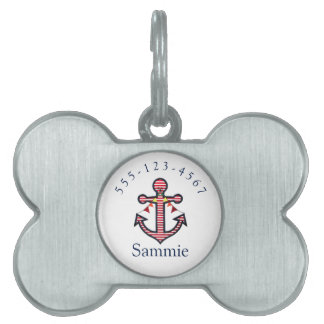 Nautical Anchor Personalized Pet Cat or Dog Pet Tag