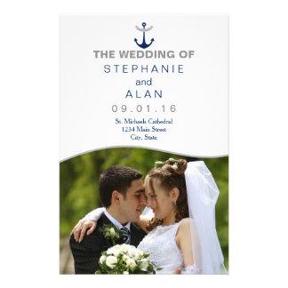 Nautical Anchor Photo Wedding Programs 14 Cm X 21.5 Cm Flyer