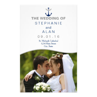Nautical Anchor Photo Wedding Programs Flyer