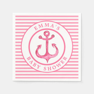 Nautical Anchor - Pink Baby Shower Paper Napkins