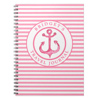 Nautical Anchor - Pink Stripes Photo Notebook