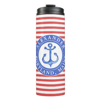 Nautical Anchor Red Personalized Thermal Tumbler