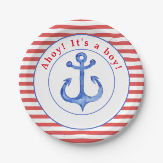 Nautical Anchor Red Striped Babyshower Paper Plate