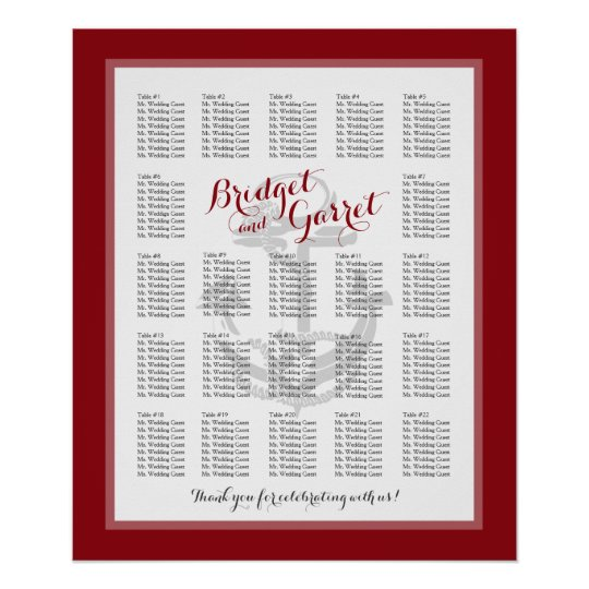 Nautical Anchor Red Wedding Seating Chart