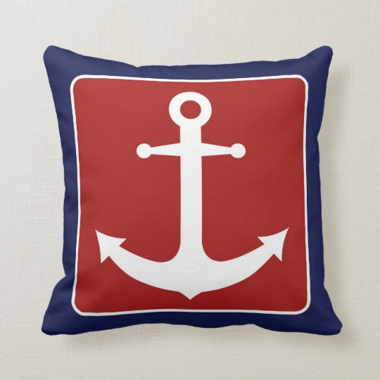 Nautical Anchor - Red White and Blue Cushion