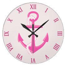 Nautical Anchor Roman Numerals Pink Wall Clock