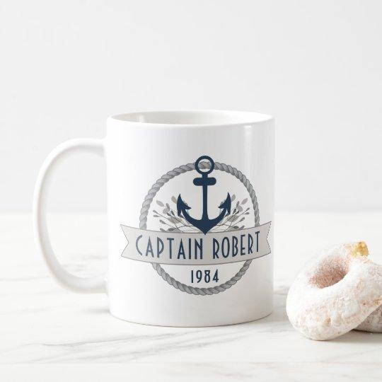 Nautical Anchor & Rope Personalised Logo Coffee Mug