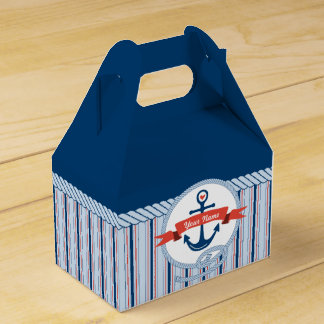 Nautical Anchor Rope Ribbon Stripes Red White Blue Favour Box