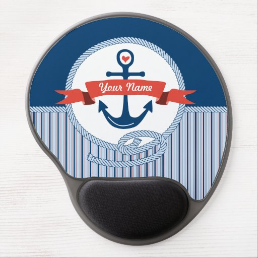 Nautical Anchor Rope Ribbon Stripes Red White Blue Gel Mousepads