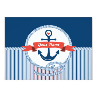 Nautical Anchor Rope Ribbon Stripes Red White Blue 5x7 Paper Invitation Card