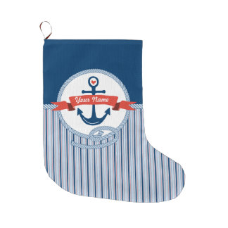 Nautical Anchor Rope Ribbon Stripes Red White Blue Large Christmas Stocking