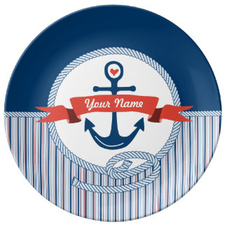 Nautical Anchor Rope Ribbon Stripes Red White Blue Plate