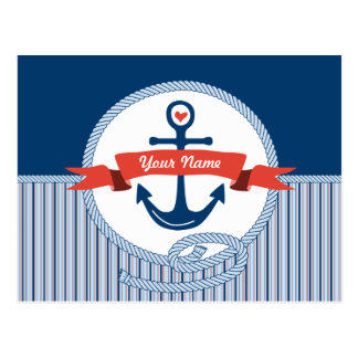 Nautical Anchor Rope Ribbon Stripes Red White Blue Postcard