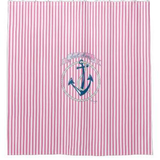 Nautical Anchor,Rope, Sailing,Stripes, Modern Shower Curtain