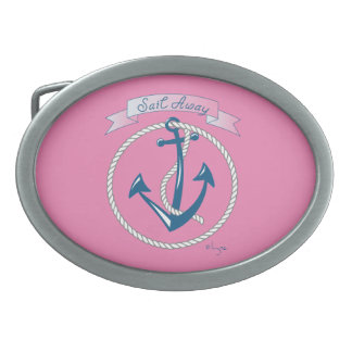 Nautical, Anchor, Sail Away, Cool Oval Belt Buckles