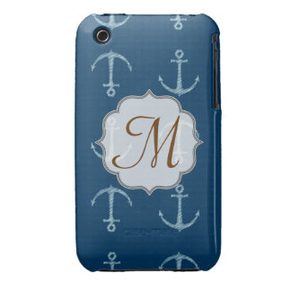 Nautical Anchor Sail Monogram IPHONE 3 Cell Case iPhone 3 Case-Mate Cases