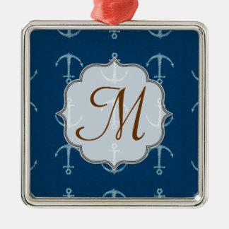 Nautical Anchor Sail Sai Monogram Initial Ornament