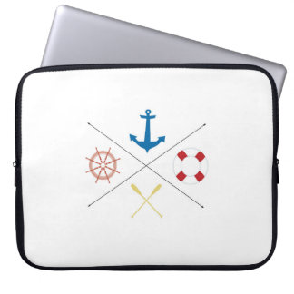 Nautical Anchor Sail Sailing Boat 15 Laptop Case Computer Sleeve