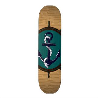 Nautical Anchor Ships Wheel Helm Sailor Design Custom Skate Board
