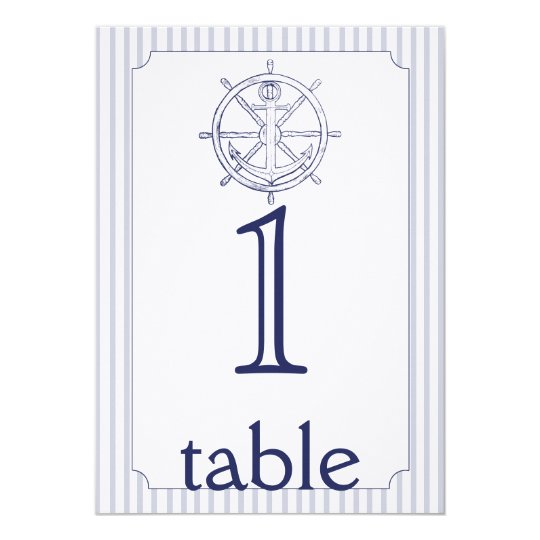 Nautical Anchor Stripe Anniversary Table Number Card