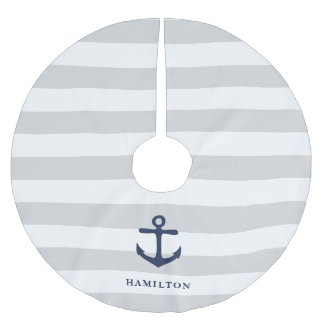 Nautical Anchor & Stripe Personalised Brushed Polyester Tree Skirt