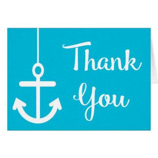 Nautical Anchor Thank You Blue Turquoise Beach Card