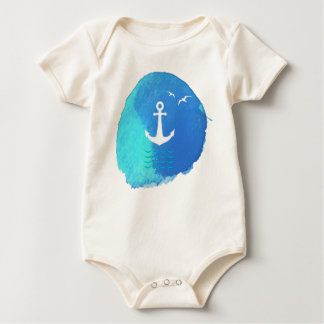 Nautical Anchor Theme in Watercolor. Baby Bodysuit