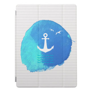 Nautical Anchor Theme in Watercolor. iPad Pro Cover
