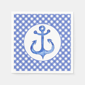 Nautical Anchor Theme - Navy Plaid Paper Napkins