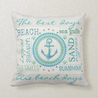 Nautical Anchor Typography Beach Throw Pillow Throw Cushion