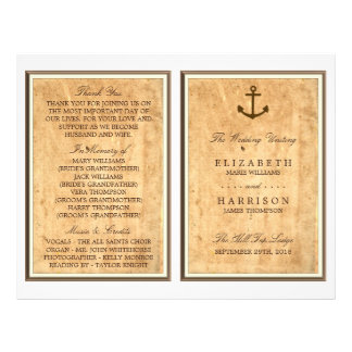 Nautical Anchor Vintage Paper Wedding Program 21.5 Cm X 28 Cm Flyer