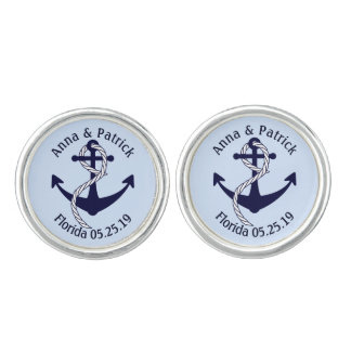 Nautical Anchor W/Rope Personalized Groom's Gift Cufflinks