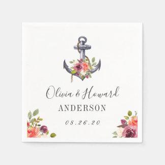 Nautical Anchor Watercolor Floral Wedding Knot Disposable Napkins