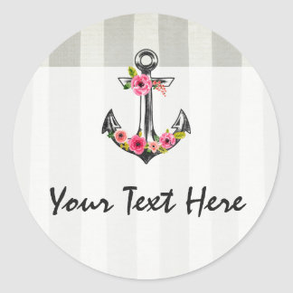 Nautical Anchor Watercolor Roses Beach Boutique Classic Round Sticker