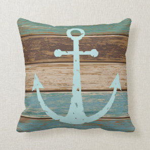 Nautical Anchor Weathered Wood Coastal Themed Cushion