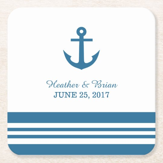 Nautical Anchor Wedding Paper Coasters