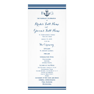 Nautical Anchor Wedding Program Full Colour Rack Card