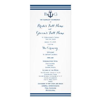 Nautical Anchor Wedding Program Rack Card