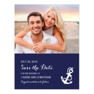 Nautical Anchor Wedding RSVP Card Postcard