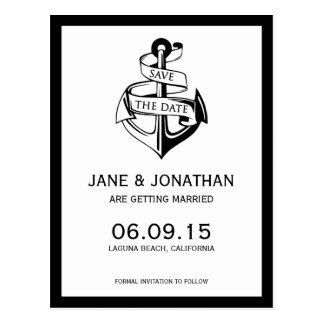 Nautical Anchor Wedding Save the Date Postcard