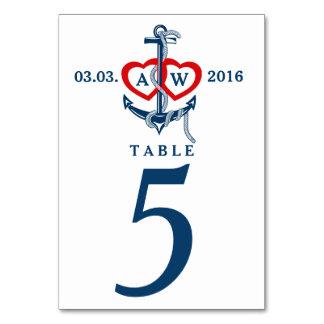Nautical anchor Wedding table numbers Wedding set Table Card
