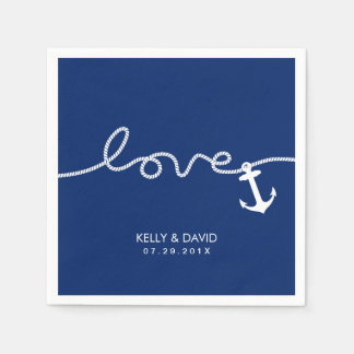 Nautical Anchor Wedding Tying the Knot Paper Serviettes