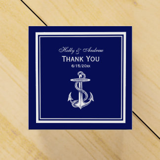 Nautical Anchor White Framed, Navy BG TY Favor Box Party Favour Box