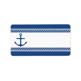 Nautical anchor with dark blue borders blank address label