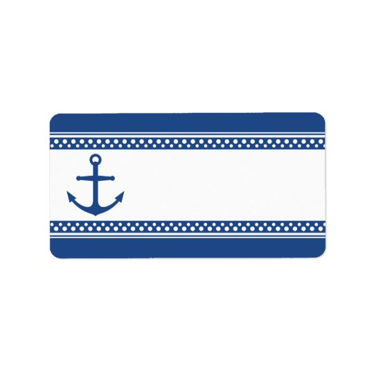 Nautical anchor with dark blue borders blank label